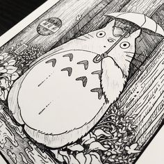 A close up of my Totoro piece . I'm so excited tonight I'll be going to Joe Hisaishi Symphonic Concert: Music from the Studio Ghibli Films of Hayao Miyazaki. This is some of the most beautiful and inspiring music I have ever heard and conducted by the original composer from most of the movies ✨  .  .  .  .  #totoro #myneighbortotoro #ghibli #illustration #blackwork #darkillustration #ink #inkwork #drawing #tattoo #sketch #stippling #crosshatching #art