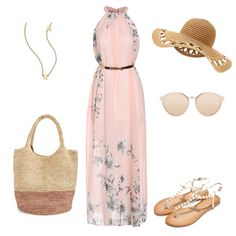 Pink Halter Floral Chiffon Maxi Dress-SheIn