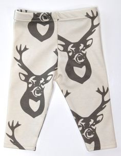 Salt City Emporium deer head print children leggings, modern organic, baby leggings, hipster kid, boy clothing, gender neutral