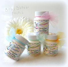 10 Baby Shower Favors mini bath powders. Body Powder by BonnyBubbles, $25.00  #baby #babyshower #party #favors