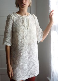 Dress rehearsal dress Simple and beautiful. pretty little thing/mini wedding dress by katetowers on Etsy