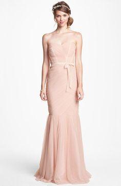 ML Monique Lhuillier Bridesmaids Monique Lhuillier Bridesmaids Tulle Trumpet Dress - also comes is a pretty grey
