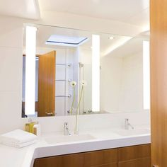 The Triple Fusion™ Lighted Mirror is a stunning upgrade for modern bathrooms undergoing renovation. http://www.ybath.com/electric-mirror-triple-fusion-lighted-mirror-with-vive-technology.html