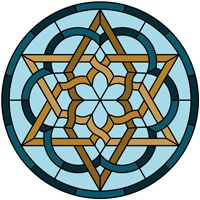 Star Celtic knot round panel pattern