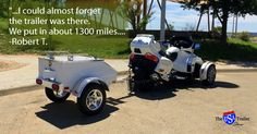 """Robert T.'s review of his Lumina Trailer, an aluminum pull behind motorcycle trailer:   """"The trailer worked great on our first trip out. Not a single problem.... I could almost forget the trailer was there. We put in about 1300 miles this first trip. On the second trip we put in 1641 miles on a 5 day trip. Trailer held plenty for us with room to spare. I highly recommend purchasing this trailer."""""""