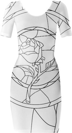 Stained Glass Rose White Short Sleeved Bodycon Dress - Available Here: http://printallover.me/products/0000000p-stained-glass-rose-white-1