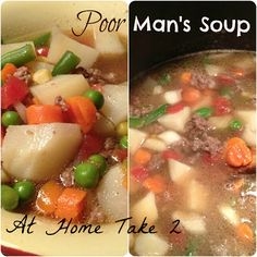 Beef broth based soup with frozen veggies and ground beef or turkey.  #cheap meal #coupon cooking #budget