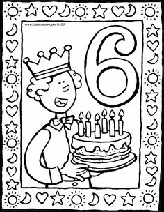 6 jaar - kleurplaat - kleurprent - tekening Birthday Coloring Pages, Coloring Pages For Girls, Today Is Your Birthday, Beautiful Birthday Cards, 6 Year Old, Animal Masks, Little Star, Pictures To Draw, Blogger Themes