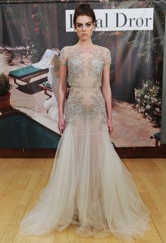 Floral Applique Fit-n-Flare Wedding Dress   Inbal Dror Fall 2014   MCV Photo   The Knot Blog