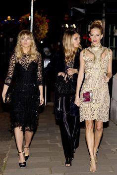 Downing Street London Fashion Week reception.  Suki Waterhouse, Cara Delevigne and Poppy Delevingne.
