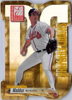 2001 Donruss Elite - Primary Colors Yellow Die Cut #PC8 Greg Maddux  Front Greg Maddux, Die Cutting, Primary Colors, Trading Cards, Legends, Baseball Cards, Yellow, Gold