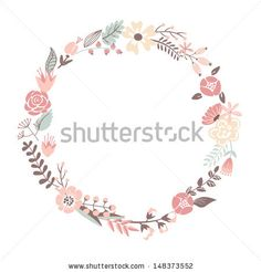 Floral Frame. Cute retro flowers arranged un a shape of the wreath perfect for wedding invitations and birthday cards by alicedaniel, via Sh...