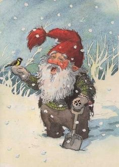 Here you will find a collection of Vintage Christmas Cards. You will find cards and illustrations with wonderful holiday artwork that is inspiring.: Nisse In The Snow And A Little Bird Christmas Gnome, Christmas Art, Elves And Fairies, Vintage Christmas Cards, Scandinavian Christmas, Magical Creatures, Yule, Christmas Pictures, Faeries