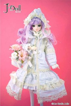 J-Doll Artemis $95  - A total coordinated bonnet, one-piece dress, coat, drawers and bag with laces used!  - A big sized ribbon around the neck of the coat is also a charming point.  - Impression leaving purple colored hair color matches the white one-piece dress.