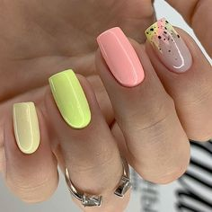 Coffin Nails Ombre, Acrylic Nails Coffin Short, Summer Acrylic Nails, Summer Nails, Nagellack Design, Short Square Nails, Short Nails, Beach Nails, Fire Nails
