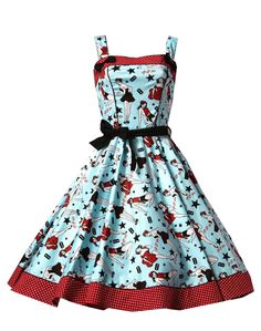 50's style dress with tattoo art on it.  Love this!