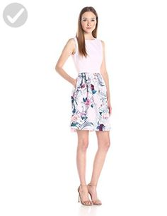 Ted Baker Women's Eilah Acanthus Scroll Print Fit and Flare Dress, Light Pink, 0 - All about women (*Amazon Partner-Link)