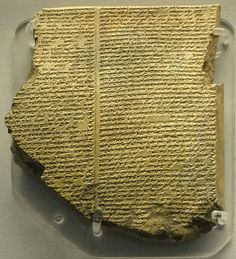File:Library of Ashurbanipal, The Flood Tablet.jpg - Tablet from the Library of Ashurbanipal containing part of the Epic of Gilgamesh. Part of a clay tablet, upper right corner, 2 columns of inscription on either side, 49 and 51 lines + 45 and 49 lines, Neo-Assyrian., Epic of Gilgamesh, tablet 11, story of the Flood. ~ Description extract from BM record.British Museum