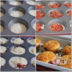 Muffins de arroz, deliciosa ideia para reaproveitamento de arroz cozido e o recheio pode ser o que você tiver disponível na geladeira.