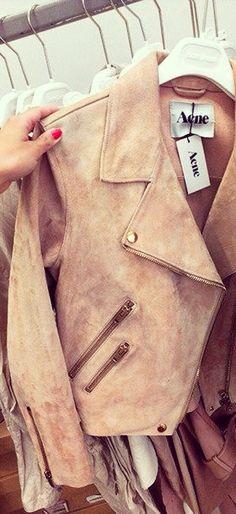 ∽ → ☾ṡṭѧʏ ғıєяċє ʟȏṿєṡ ☾← ∽ Pink Leather Jackets, Leather Jackets For Women, Pink Suede Jacket, Acne Leather Jacket, Suede Moto Jacket, Leather Shoes, Fashion Moda, Love Fashion, Fashion Beauty