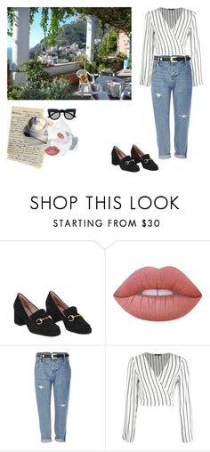 """""""Greece <3"""" by julidesiree ❤ liked on Polyvore featuring Gucci, Lime Crime, River Island, Boohoo and Retrò"""