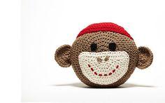 Crochet Sock Monkey Pillow por peanutbutterdynamite en Etsy