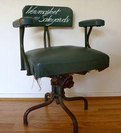 vintage industrial dark green swivel chair from von epochco auf Etsy