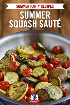 Perfect as a summer cookout side dish, this quick and flavorful vegetable recipe is the ultimate summer side. The season's plentiful summer squash and cherry tomatoes come together in a tasty side that cooks up in under ten minutes.