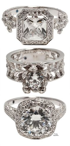 Jude Frances wedding rings ~ all 3 are diamonds, white gold and secretly set round faceted blue sapphire in the interior of the band | Purely Inspiration