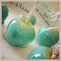 Stefi, this would be cool for your baby shower if u r having a boy!....Tiffany blue candy apples with blinged out sticks