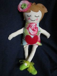 Floral Print With Red Heart Doll by DollsandMonsters on Etsy, $25.00