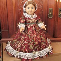 Antebellum formal gown from 1850's for 18 inch doll. Part