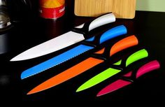 High Carbon Stainless Steel 5 Pc Kitchen Knife Knives  Non-Stick Cutlery Set New