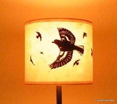 "Paper cut flock of birds drum table lampshade in beige ""Charm of Chaffinch"" (20cm diameter) by FirecrestHandmade on Etsy"