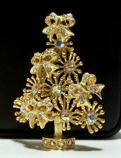 Kirks Folly Christmas Tree Pin Brooch AB Rhinestone by dollherup, $48.00