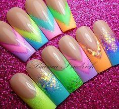 Acrilic nails Neón color Square