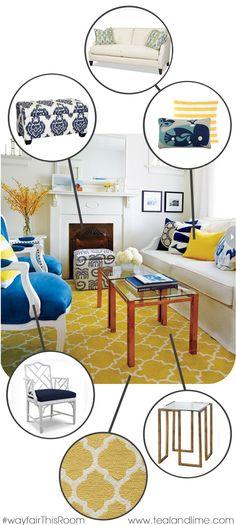 Everything you need to recreate this gorgeous room #WayfairThisRoom | tealandlime.com