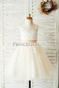 4ec47a1cd5e Princessly.com-K1003642-Ivory Lace Champagne Tulle Wedding Party Flower  Girl Dress with