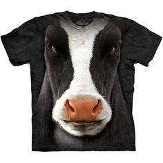 Black Cow Face T-Shirt by The Mountain Big Giant Head Farm Animal NEW #TheMountain #GraphicTee