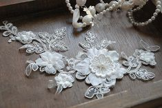 Bridal Headpiece Wedding Lace Applique Sequined Pearl by QFabrics, $5.99