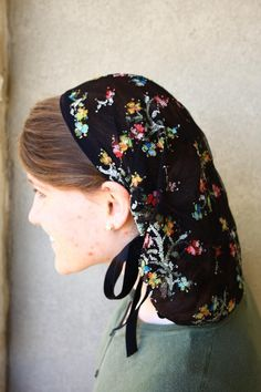 dELICATE black LACE Snood headcovering hair scarf head covering veil. $15.99, via Etsy.