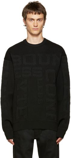 JUUN.J Black Embossed Lettering Sweater. #juun.j #cloth #sweater