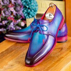 Paul Parkman Men's Turquoise & Purple Apron Derby Shoes Website: www.paulparkman.com #paulparkman #mensshoes #patinashoes #bespokeshoes #luxuryshoes #handmade #derbyshoes Purple Hands, Turquoise And Purple, Derby Shoes, Luxury Shoes, Men's Shoes, Apron, Oxford Shoes, Lace Up, Website
