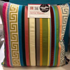 Jamie Meares, April 2012 - Eye catching pillow at Drandfield and Ross - love all the colors. Outdoor Throw Pillows, Decorative Throw Pillows, Ribbon Diy, Clean Sheets, High Point Market, Design Inspiration, Design Ideas, Pillow Ideas, Furniture Market