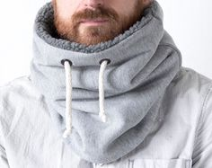 Unisex cowl, neck warmer, scarf men, Snock® in cotton with fleece lining Sweater Knitting Patterns, Easy Knitting, Knitting Socks, Knit Cowl, Knit Vest, Chunky Knit Scarves, Knitting Accessories, Neck Scarves, Knitted Blankets