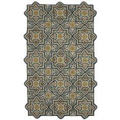 Reva Rugs - Blue - the shape along the edges is so unique. Reminds me of a tile floor. Pier 1