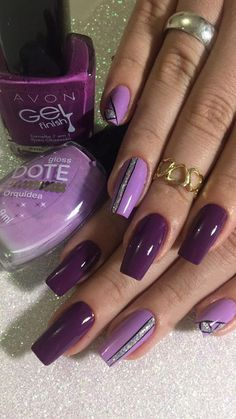 What Christmas manicure to choose for a festive mood - My Nails Purple Nail Art, Purple Nail Designs, Best Nail Art Designs, Colorful Nail Designs, Great Nails, Fabulous Nails, Gorgeous Nails, Pretty Nail Colors, Nail Effects