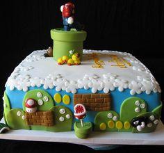 super mario brothers themed birthday cake with fondant details Luigi Cake, Mario Bros Cake, Mario Birthday Cake, Themed Birthday Cakes, Fancy Cakes, Cute Cakes, Gorgeous Cakes, Amazing Cakes, Mario Bros Kuchen