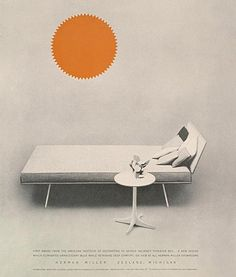 Design is fine. History is mine. — George Nelson, Daybed for Herman Miller,. System Furniture, Furniture Ads, Furniture Catalog, Vintage Furniture, Furniture Design, Vitra Design Museum, Catalog Design, George Nelson, Futuristic Design