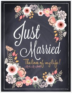Just Married Sign. Chalkboard Wedding Wall Art decoration.Personalized.Letter size/ Digital PDF. by HoneyBunnyStudio. $15.00, via Etsy.